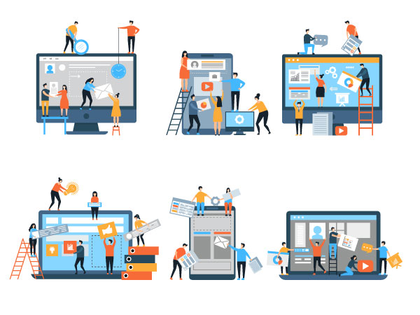 drawing of small team of people building website on various large devices