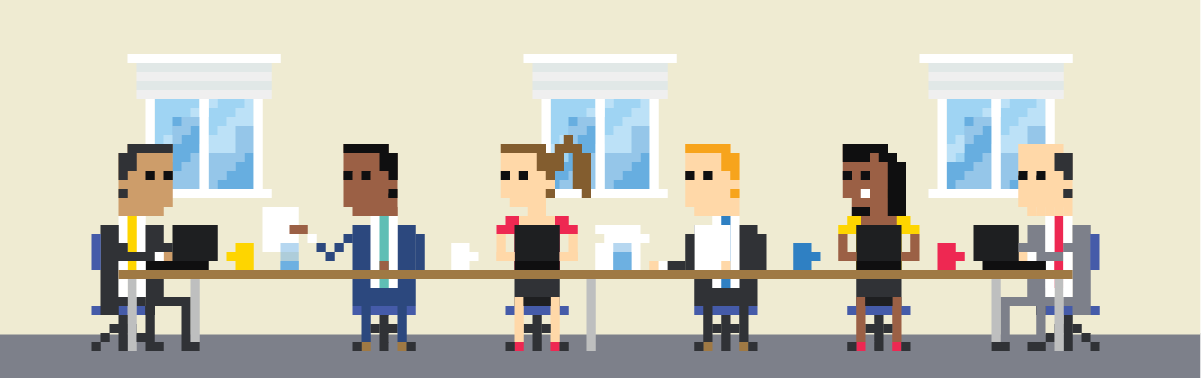 Pixel Art of Male and Female Office Workers at Long Desk to Depict Pixel Converters - Pharian