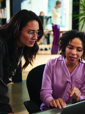 Picture of 2 female office workers discussing a project