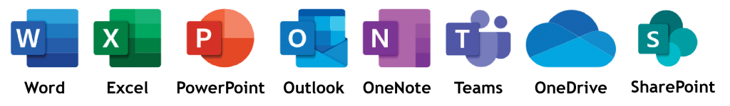Icons for core Microsoft Office 365 Apps in a line - Pharian IT Services & Support