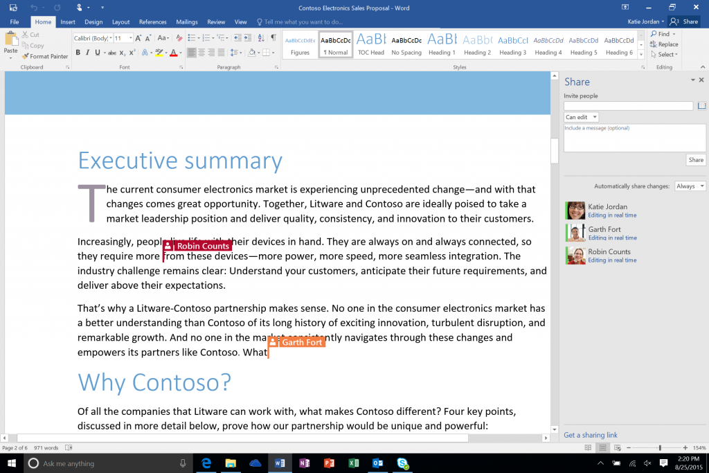 Microsoft OneDrive allows co-authoring