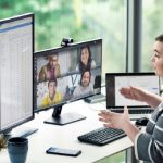 Woman at desk in a Microsoft Teams Meeting