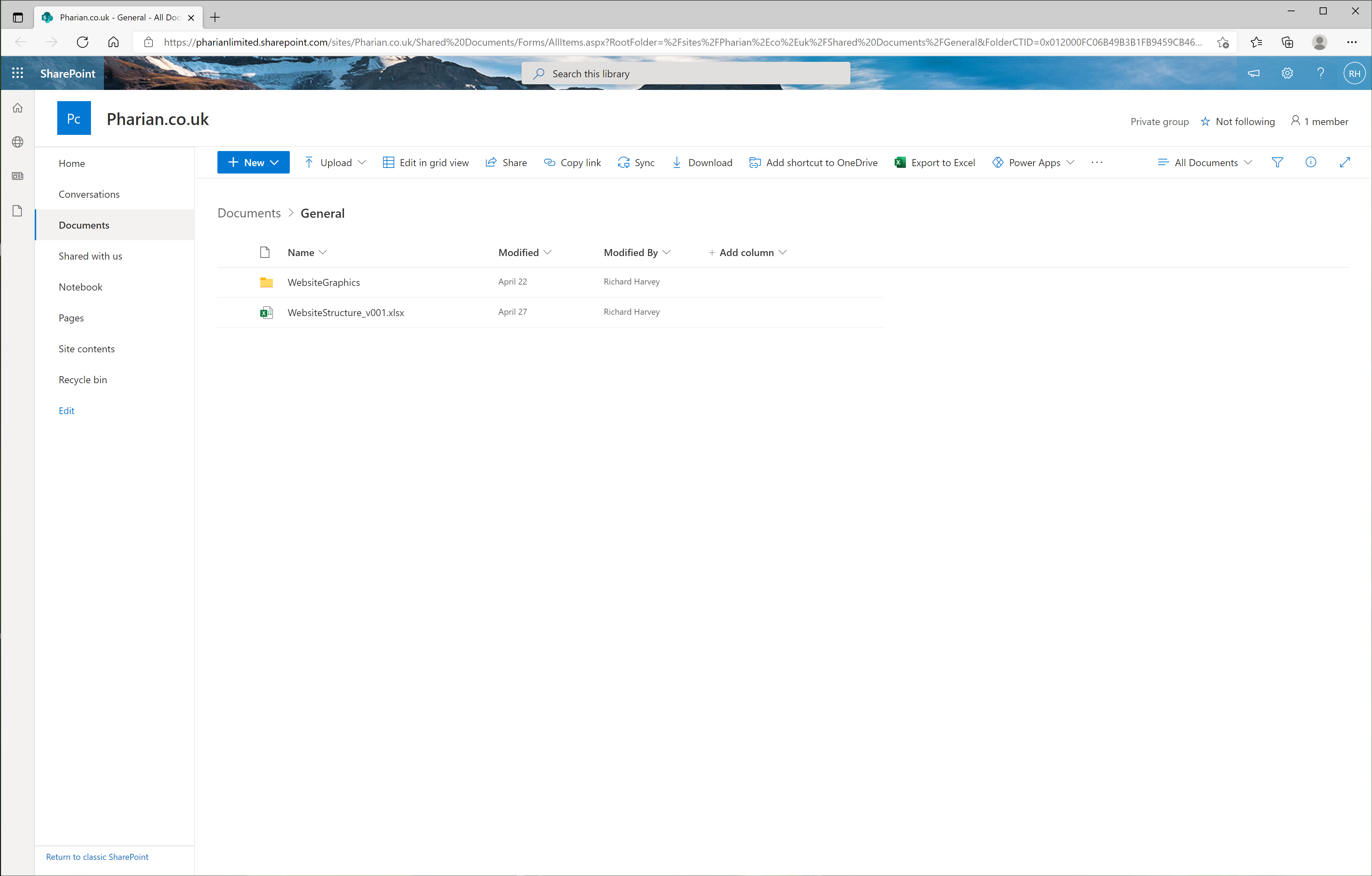 Image of Microsoft Teams Files Opened in SharePoint