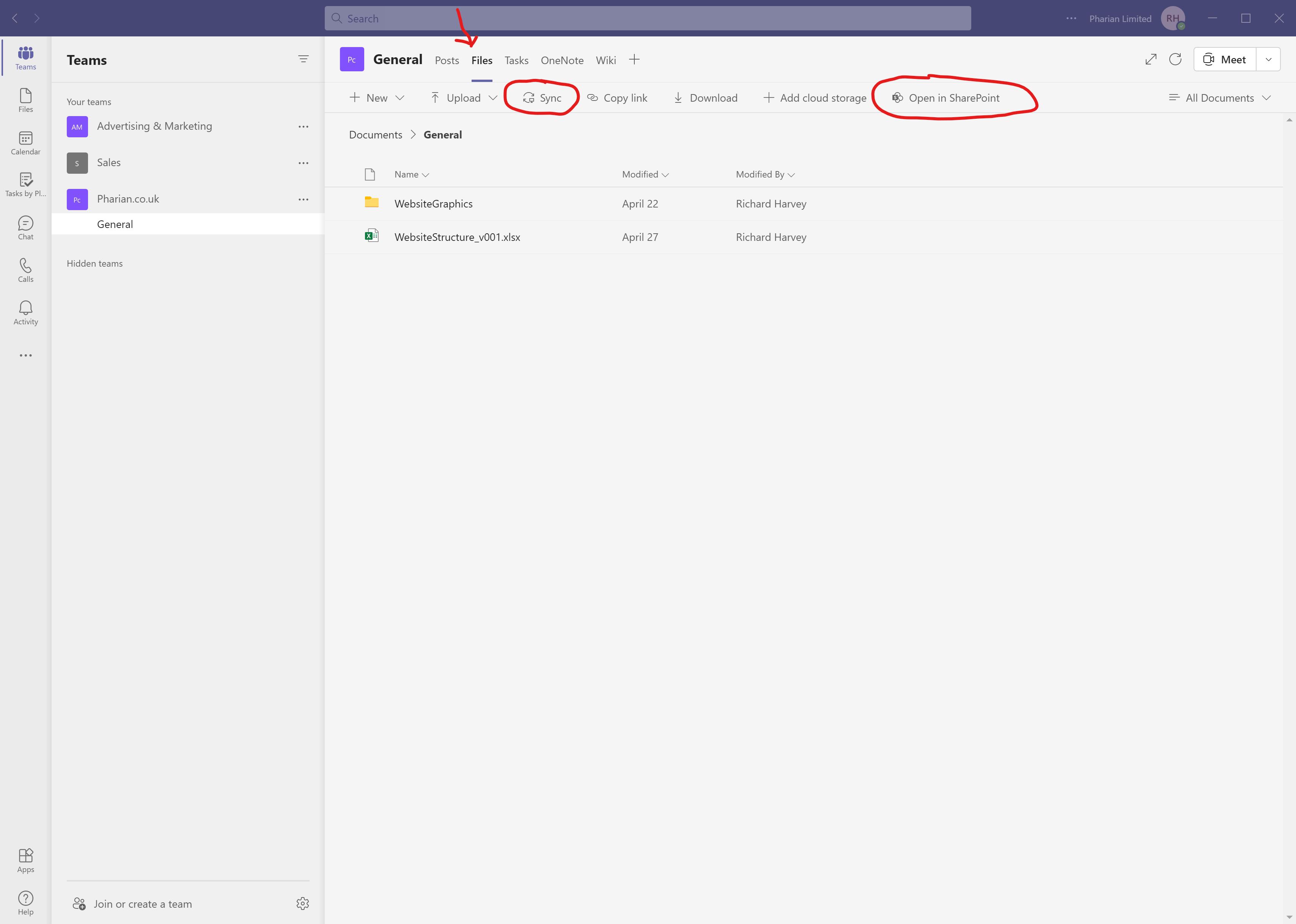 Image of Files Tab in Microsoft Teams