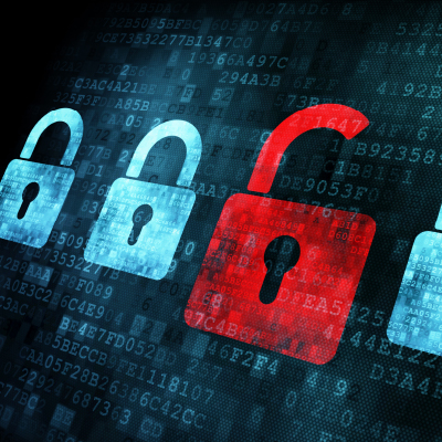 red digital padlock near blue digital padlock to symbolise cyber security