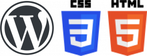 logos for WordPress, CSS3 & HTML5 to represent software & skills used by Pharian IT Services